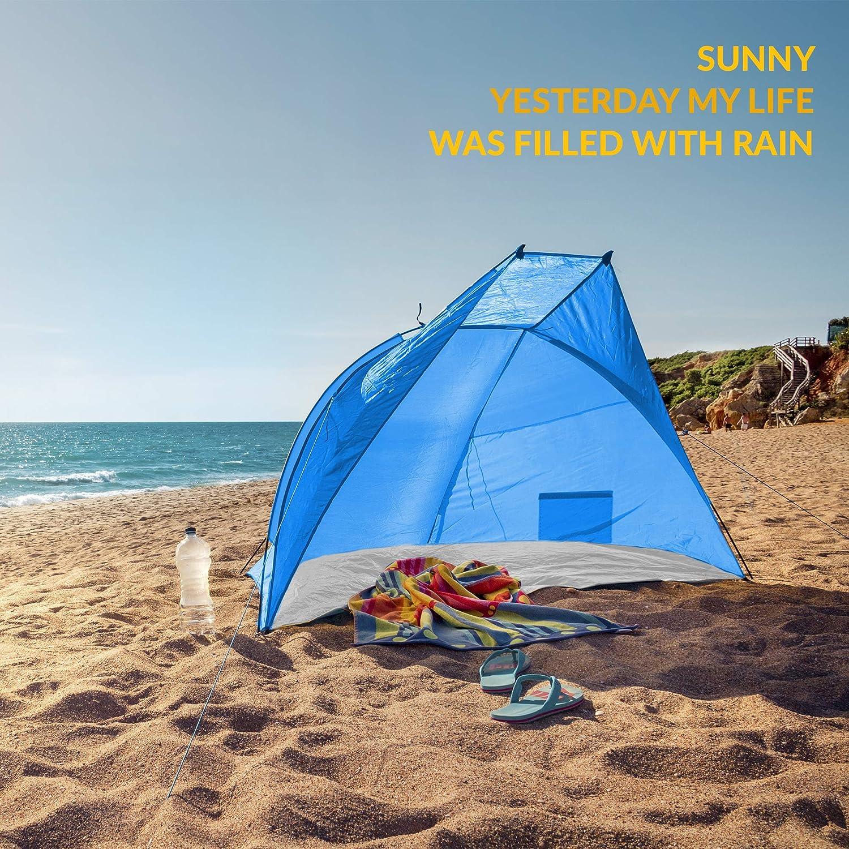Tragetasche TRESKO Strandmuschel inkl Wasserdicht und atmungsaktiv Strandzelt mit UV Schutz 50+ Kleines Packma/ß