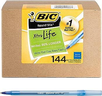 144-Count BIC Round Stic Xtra Life Medium Point Ballpoint Pen