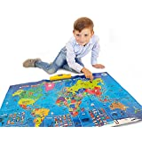 Zanzoon map world interactive amazon toys games interactive talking world map for kids tg661 push learn and discover over 1000 facts gumiabroncs Image collections