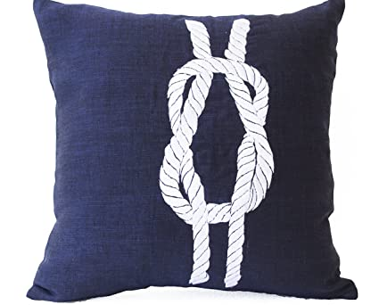 Amore Beaute Handcrafted Blue Linen Pillowcase - Navy Pillow Cover with Nautical Theme Knot Embroidery - White Knot Embroidered Pillow Cover - Beach ...
