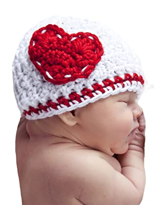 4fa329bb51d Amazon.com  Melondipity Girls I Heart You Crochet Baby Hat ...