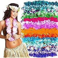 Hawaiian Leis Luau Suministros para fiestas – Paquete de 50 collares de flores para decoraciones de fiesta tropicales – variedad de colores de imitación de seda floral Lei Beach Tema Party Kit