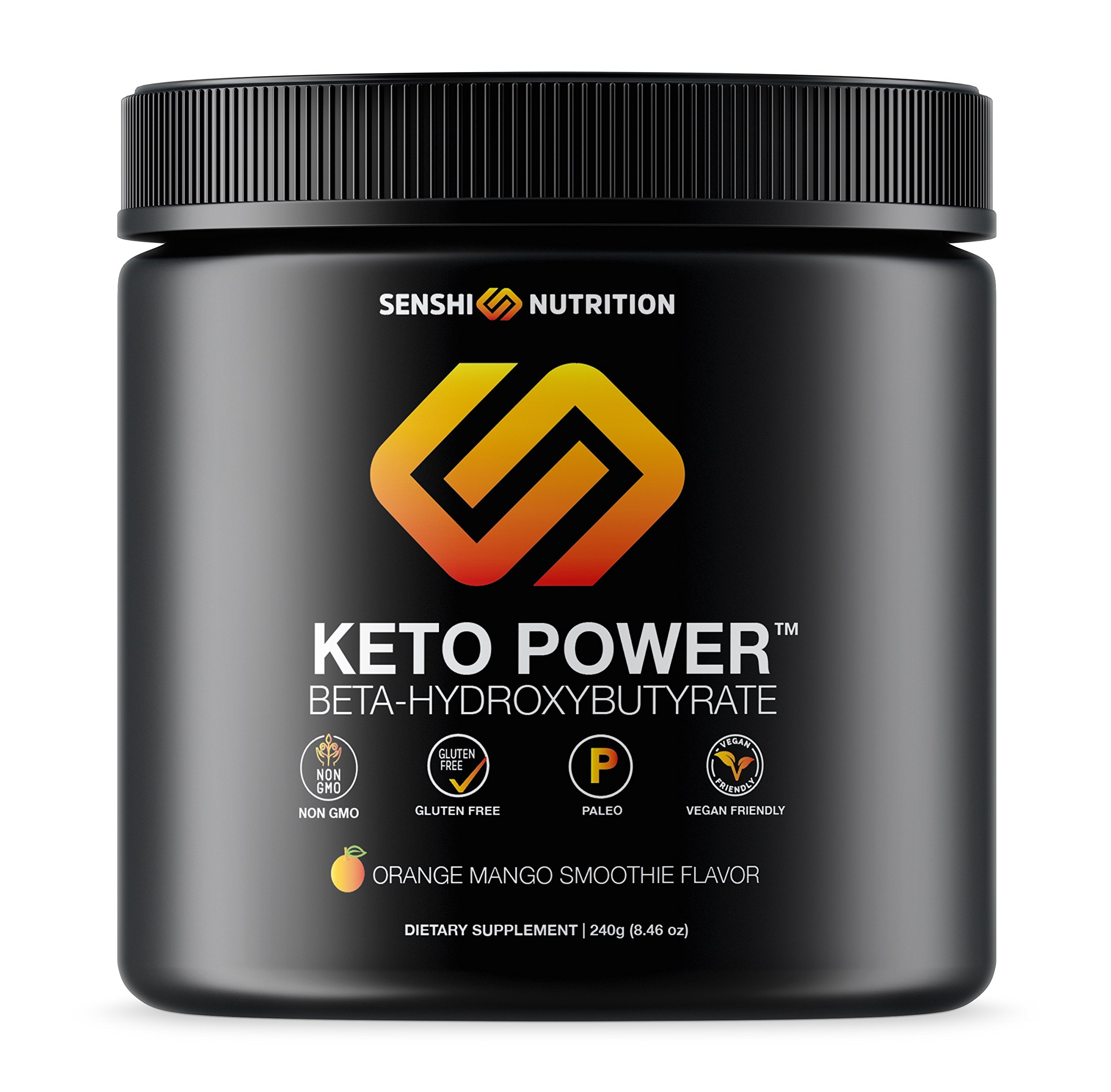 Keto Power - Exogenous Ketones Keto Diet Supplement - BHB Salts to Enhance Performance, Kickstart Ketosis, Increase Focus, Burn Fat for Energy - Orange Mango Beta-Hydroxybutyrates - goBHB by Senshi Nutrition