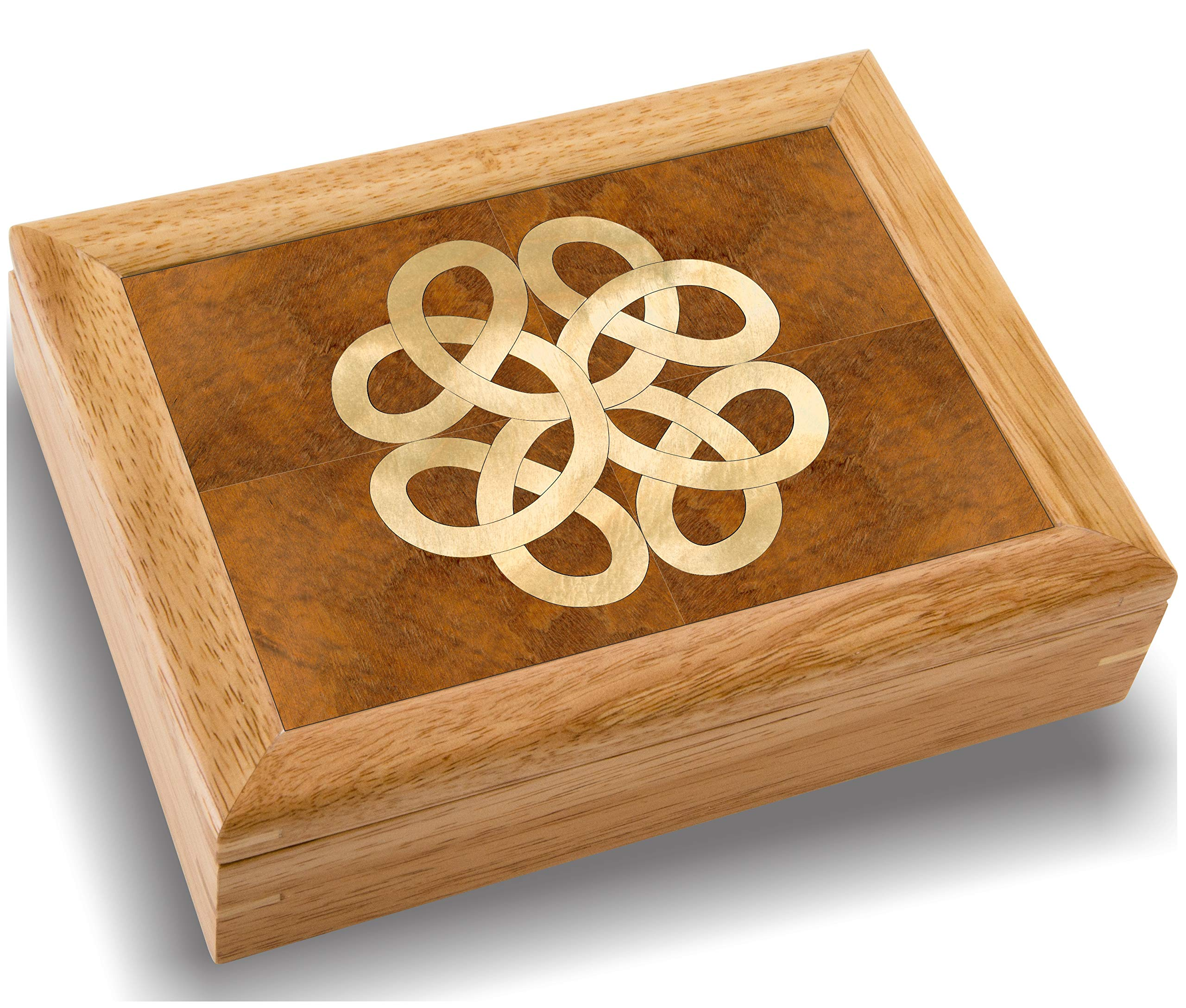 Wood Art Celtic Box - Handmade USA - Unmatched Quality - Unique, No Two are The Same - Original Work of Wood Art. A Celtic Gift, Ring, Trinket or Wood Jewelry Box (#2852 Celtic Knot 6x8x2) by MarqART