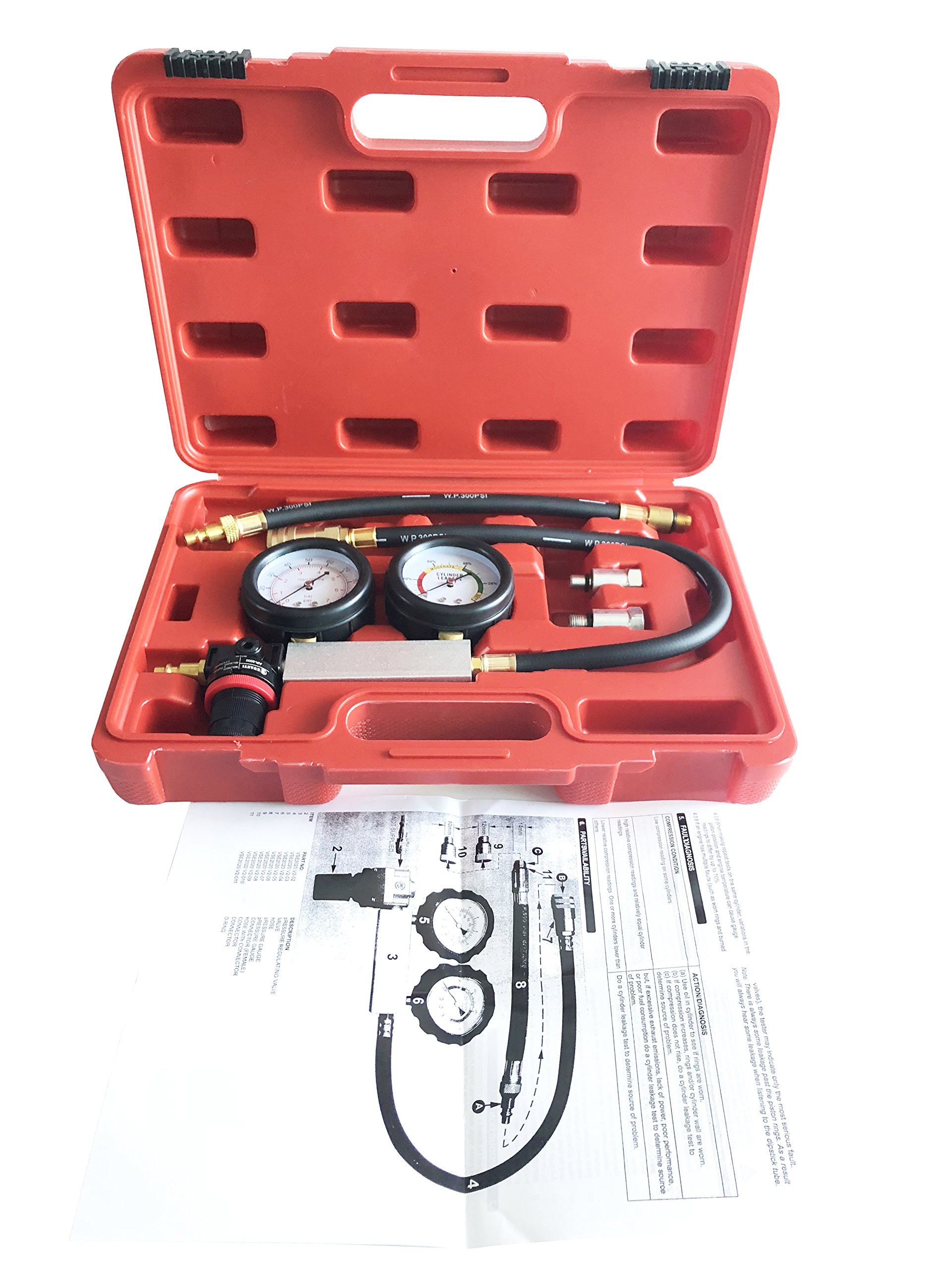 GooMeng4S New Generation Tu-21 Cylinder Leakage Leak Detector Engine Compression Tester Cylinder Pressure Detector Kit by GooMeng (Image #5)