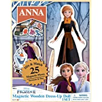 Disney Frozen 2 Anna Wooden Dress-Up Doll with 25 Magnetic Dress Pieces. Bendon AS47258, Multicolor