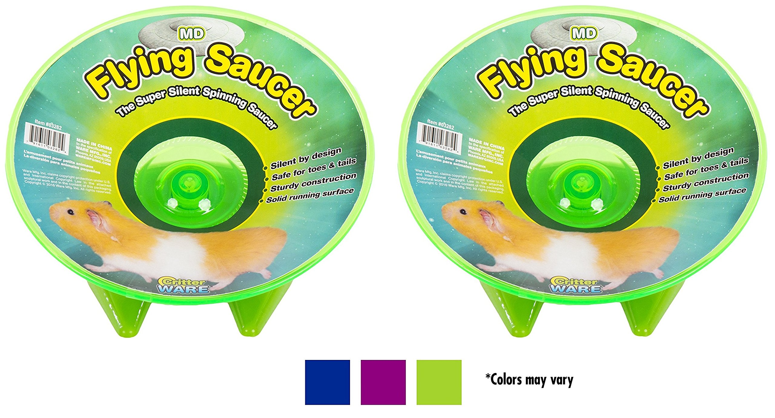 (2 Pack) Ware Flying Saucer Small Pet Exercise Wheels, 7-1/4-Inch, Medium, Colors May Vary by Ware Manufacturing