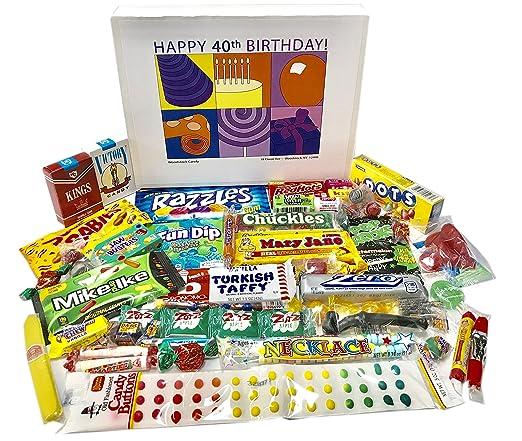 40th Birthday Gift Basket Box Of Retro Nostalgic Candy