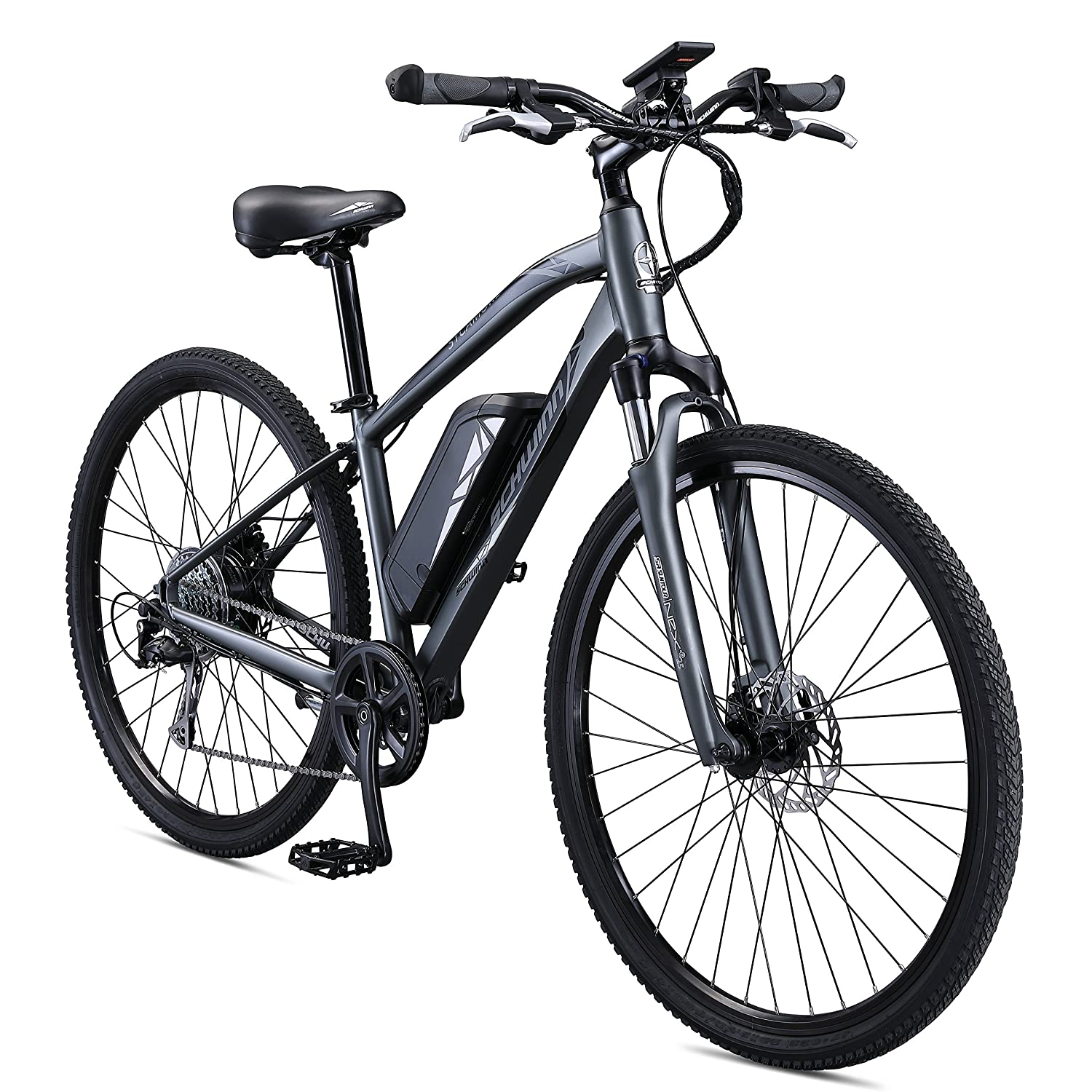 Schwinn Sycamore 350 Watt hub-Drive, Mountain Hybrid, Electric Bicycle, 8 speeds, Mens Size
