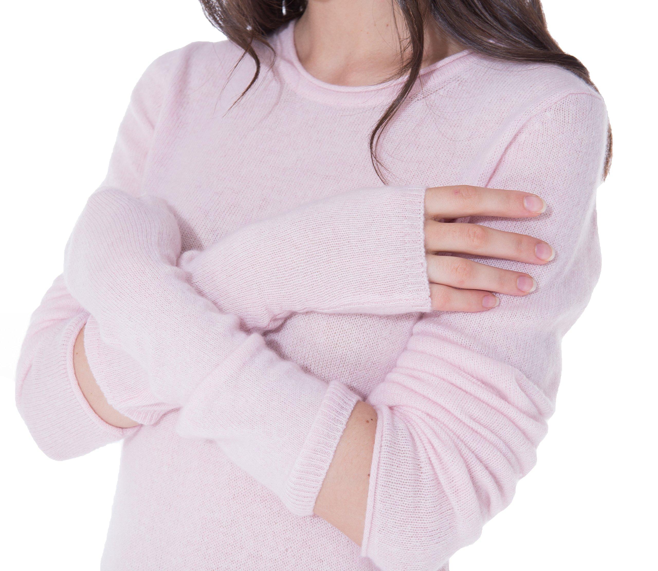 cashmere 4 U Women's 100% Cashmere Long Sleeve Fingerless Mitten Gloves (Givre) by cashmere 4 U (Image #3)