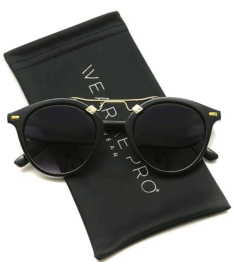 2a53a3d8dd7 Amazon.com  WearMe Pro - Round Gold Frame Accent Retro Sunglasses ...