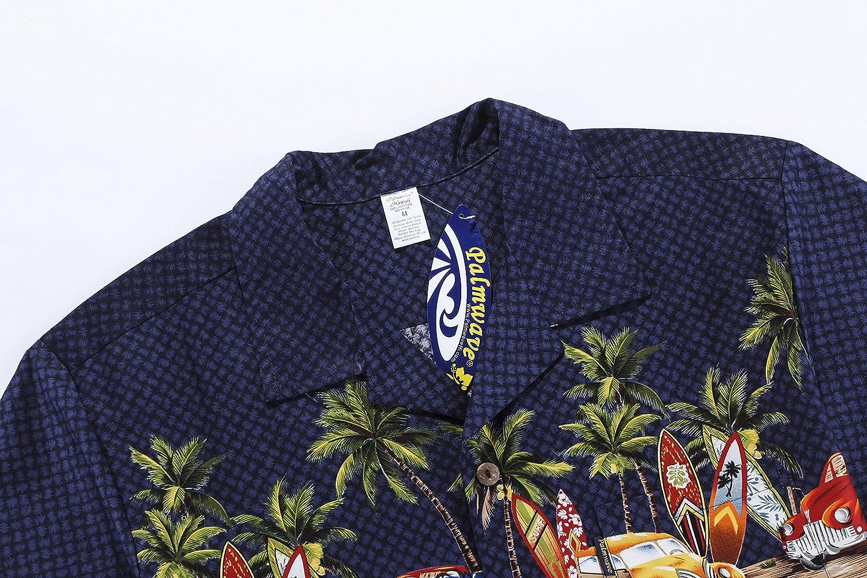 Hombres Aloha Camisa Hawaiana en Coches Antiguos Palmeras Tablas de Surf en Azul Marino