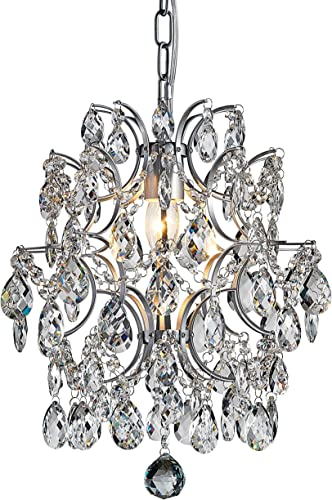 Bestier Modern Pendant Chandelier Crystal Raindrop Lighting Ceiling Light Fixture Lamp