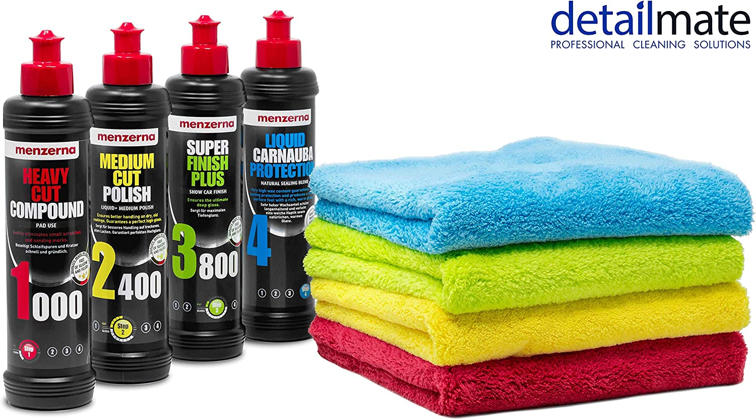 Detailmate Menzerna Autopolitur Super Heavy Cut Compund Hc1000 Medium Cut 2400 Super Finish Plus Sfp3800 Liquid Carnauba Protection 250ml 4 Flauschige Poliertücher Rot Gelb Grün Blau Auto