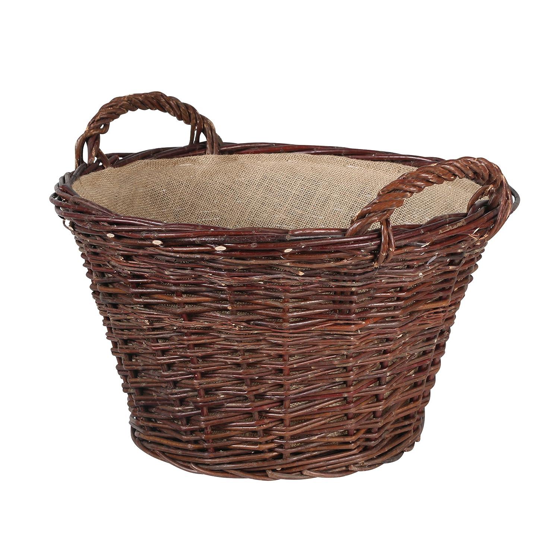 Multipurpose Storage Basket Newspaper Basket with Carry Handles Fireside Wicker Log Basket Fireplace Wood Basket Kamino-Flam Unpeeled Willow Firewood Basket with Jute Lining /Ø 50x30cm approx