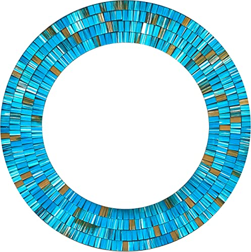 Zorigs Mirror Wall Art D cor Handcrafted Decorative Wall Mirror, Sky-Blue, Earthy Brown, 24 Frame, 16 Round Mirror for Hallway, Bedroom, Bathroom, Living Room