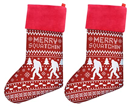 thiswear christmas stockings for men sasquatch merry squatchin funny ugly christmas sweater themed pattern christmas gag - Christmas Stockings For Men