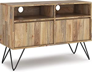 SIMPLIHOME Hunter SOLID MANGO WOOD 42 inch Wide Industrial Contemporary TV Media Stand in Natural For TVs up to 43 inches, for Flat Screen TVs up to 43 inches in