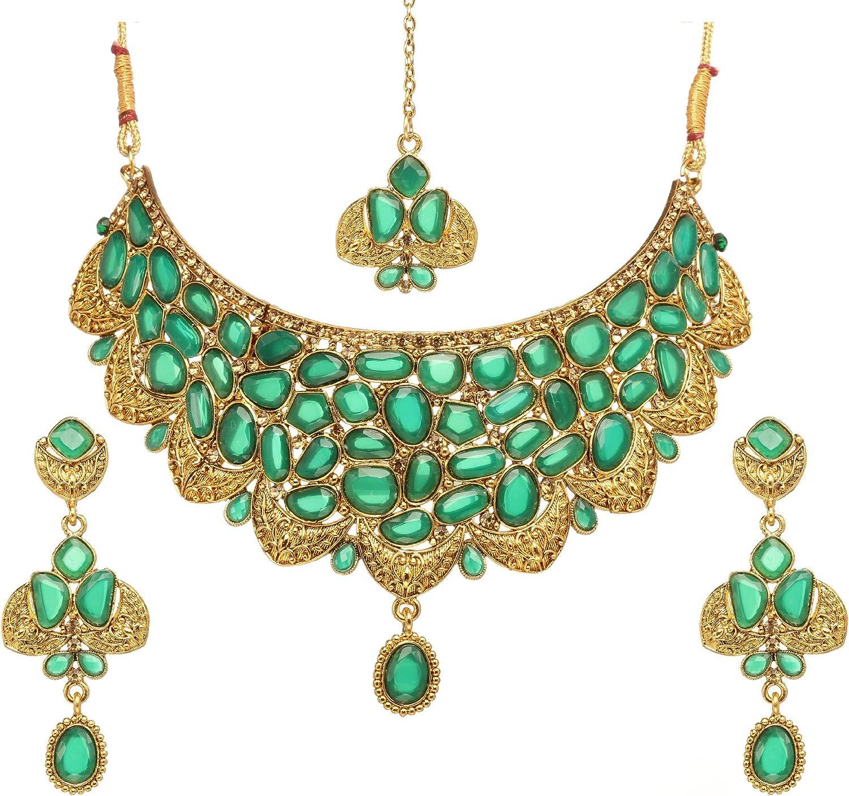 Indian Gold Maang Tikka  Earring Set Bollywood Women Wedding  Partywear Jewelry