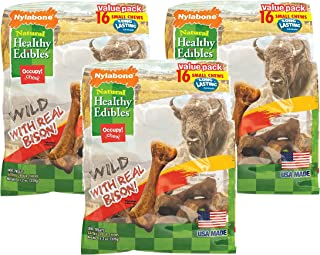 product image for (3 Pack) Nylabone Healthy Edibles Wild Flavors Dog Chew Treat Bones for Small Dogs up to 25 Pounds Wild Bison 16 Count