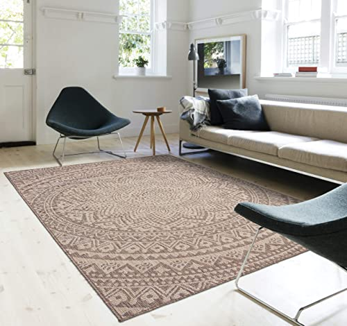 Indoor Outdoor Mandala Design Hippie Area Rug 8 x10 , Natural Neutral
