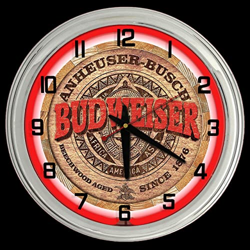 ELG Companies LLC 16″ Budweiser Keg Label Beer Sign Red Neon Wall Clock Chrome Garage Bar Man Cave