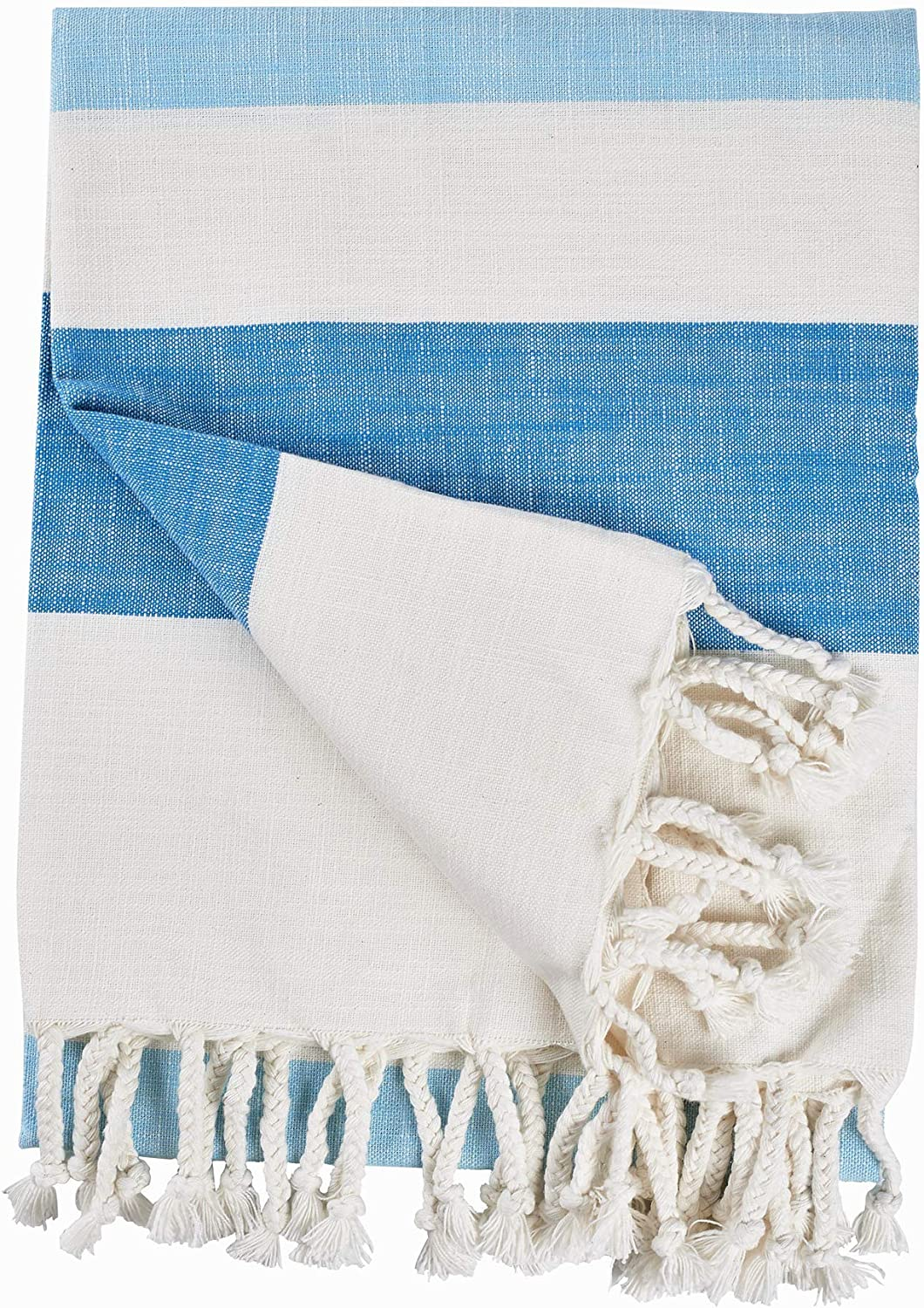 Motini 100 Cotton Striped Throw Blankets Plain Woven Slub Fabric With Decorative Fringe Tassels For Sofa Couch 50 X 60 Blue And White Kitchen Dining