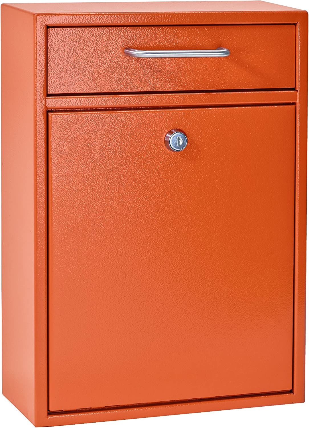 Mail Boss 7425 High Security Steel Locking Wall Mounted Mailbox Office Drop Comment Letter Deposit Box, Orange
