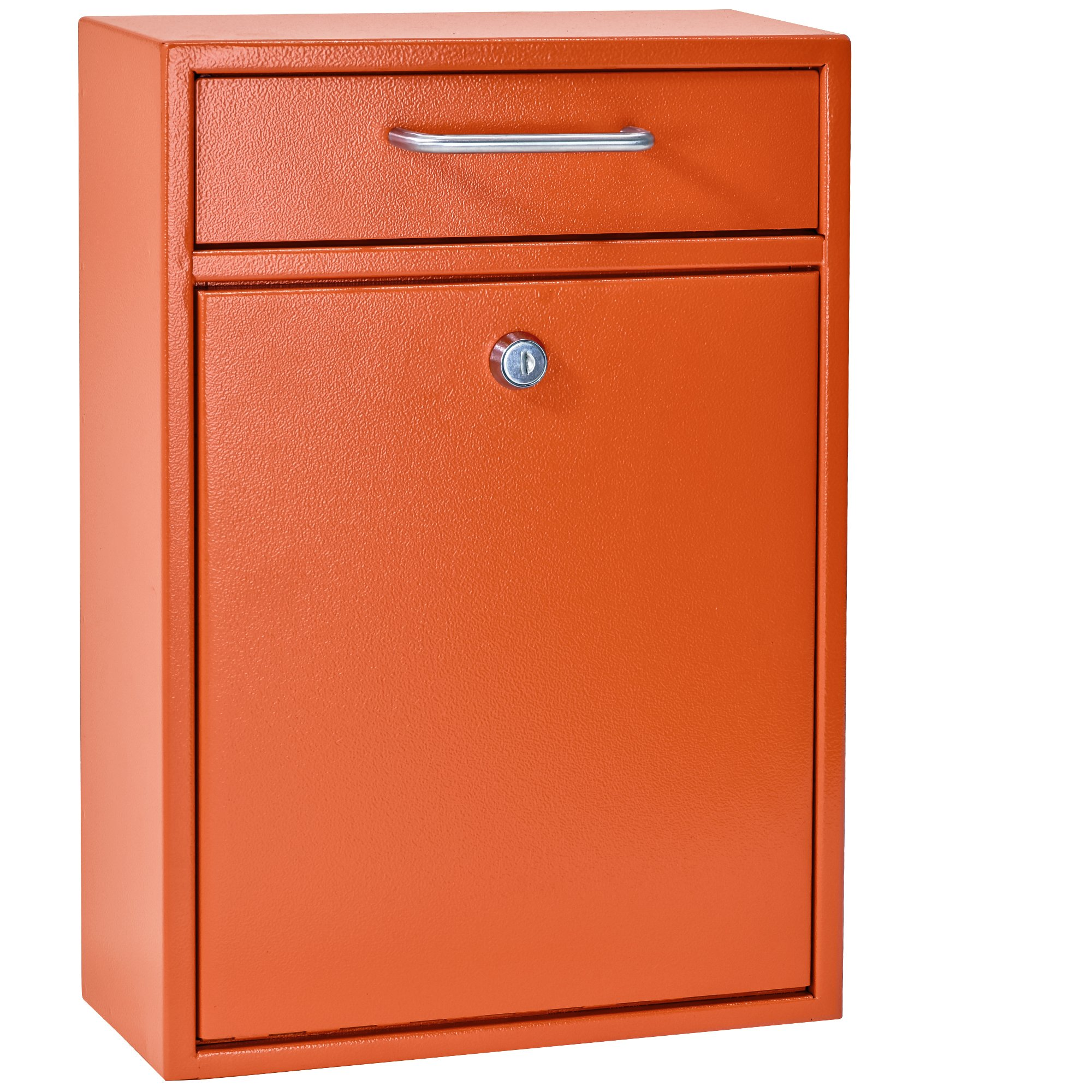 Mail Boss 7425 High Security Steel Locking Wall Mounted Mailbox - Office Drop Box - Comment Box - Letter Box - Deposit Box, Orange