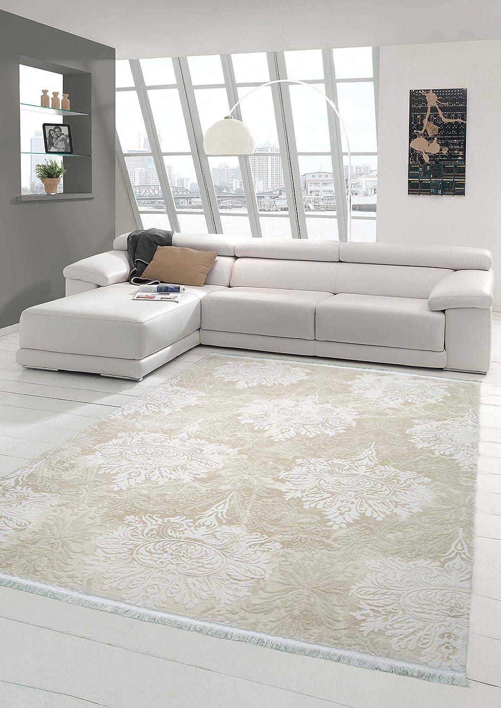 Traum Designer Teppich Moderner Teppich Wollteppich Meliert Wohnzimmer Teppich Wollteppich Ornament Creme Beige Größe 160x230 cm