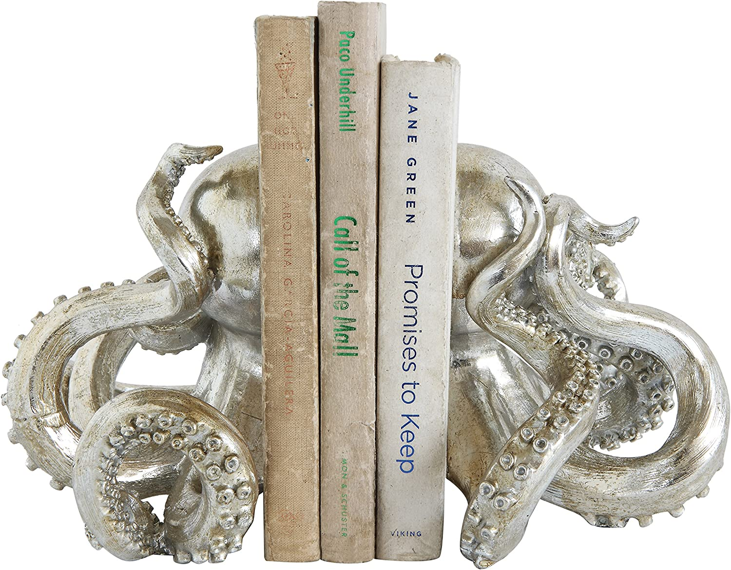 Creative Co-op Octopus Shaped Resin (Set of 2 Pieces) Bookends, Silver, 2