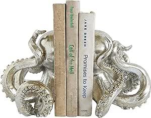 Creative Co-Op DA7837 Waterside Silver Resin Octopus Bookends