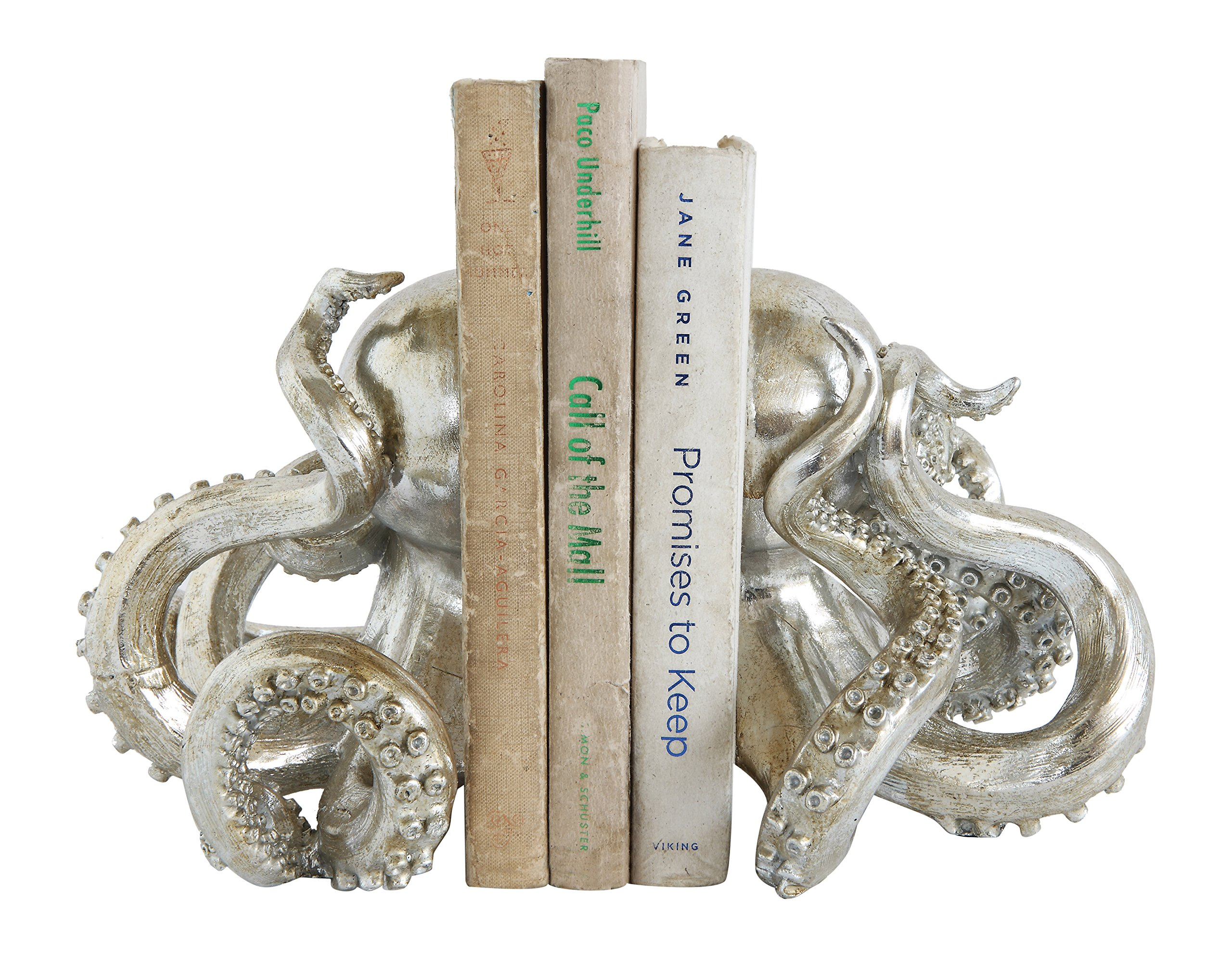 Creative Co-op Octopus Shaped Silver Resin Bookends (Set of 2 Pieces)
