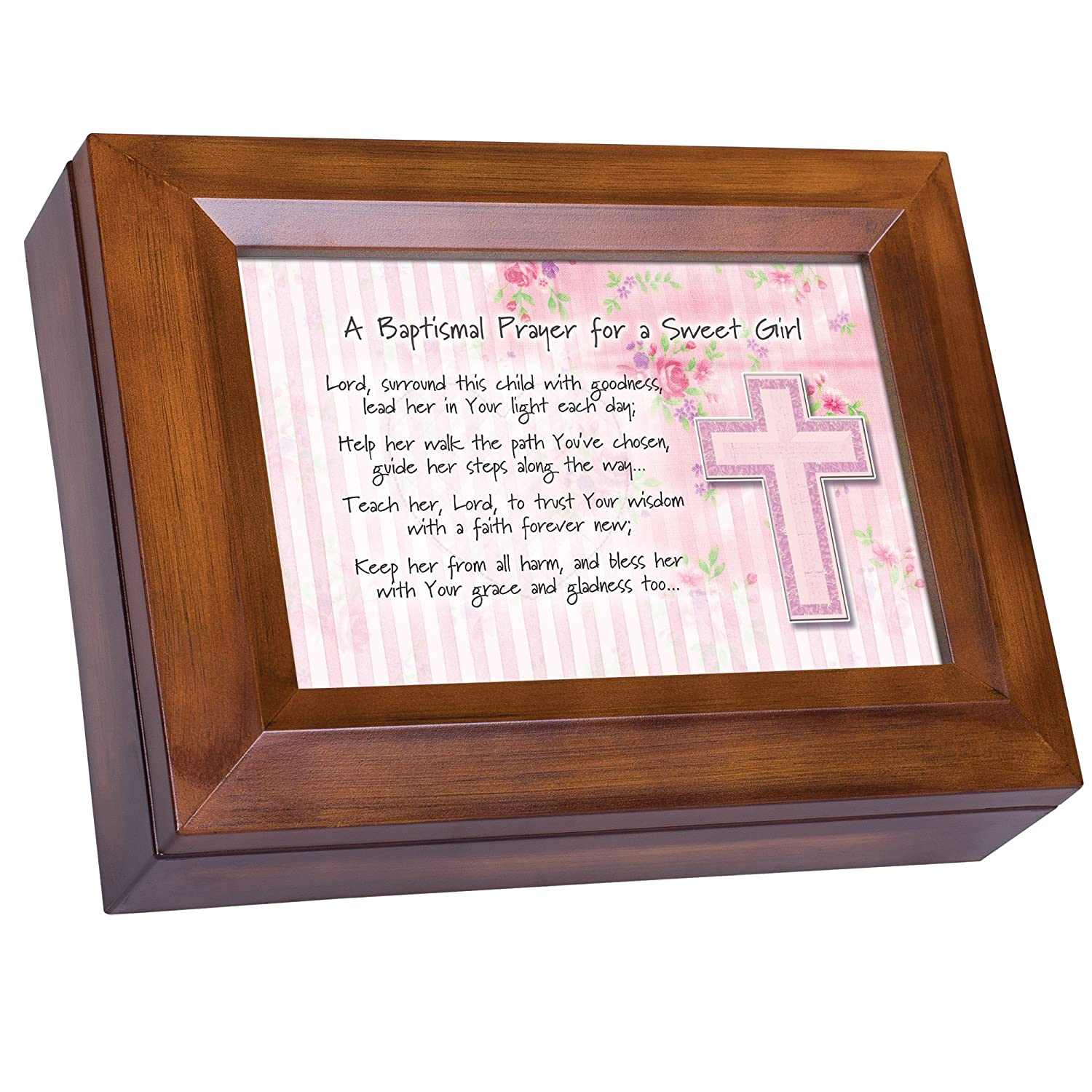 Plays Tune You Are My Sunshine Cottage Garden Baptismal Prayer for a Sweet Girl Wood Finish Jewelry Music Box