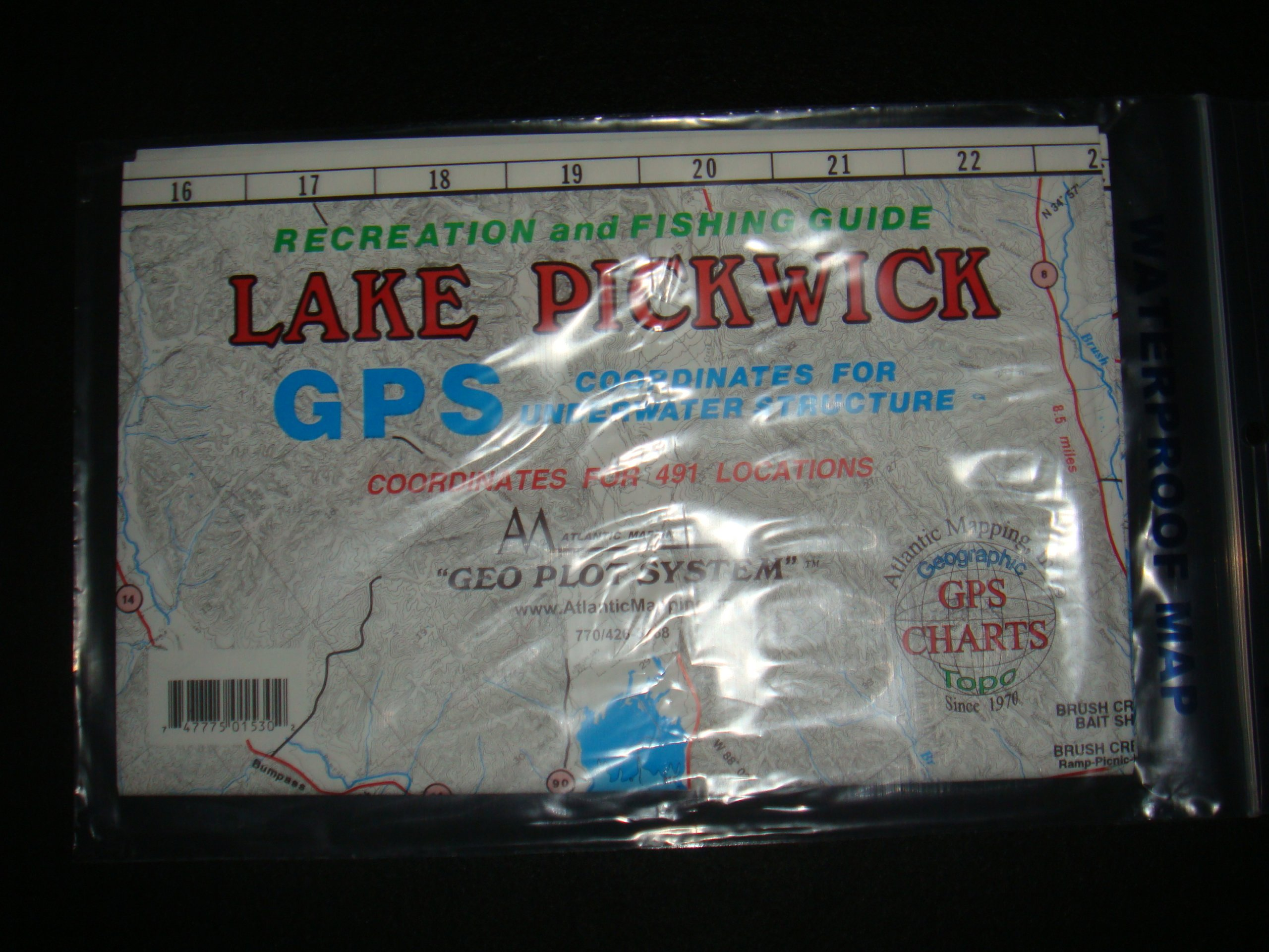 Lake Pickwick Enlarged Version Geographic GPS Charts and Above Water and Underwater Topography Map