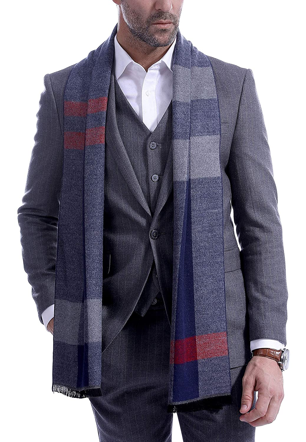 Men's Scarf, Fashion Cashmere Feel Scarves for Men Winter Autumn with Tassels Long Tartan Men' s Scarves