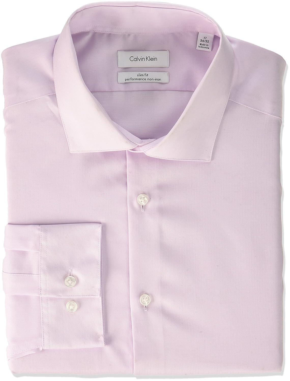 Calvin Klein Mens Non Iron Slim Fit Herringbone Spread Collar Dress