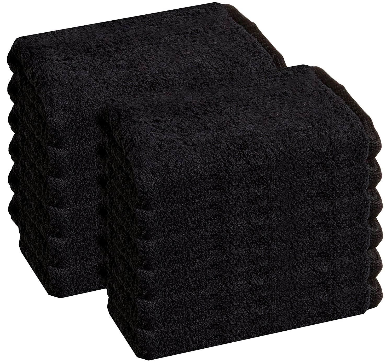 Gym Towel Hand Towel - Ringspun Cotton - 16x26 inches Maximum Softness and Absorbency 12-Pack, Black Cotton Salon Towels Easy Care