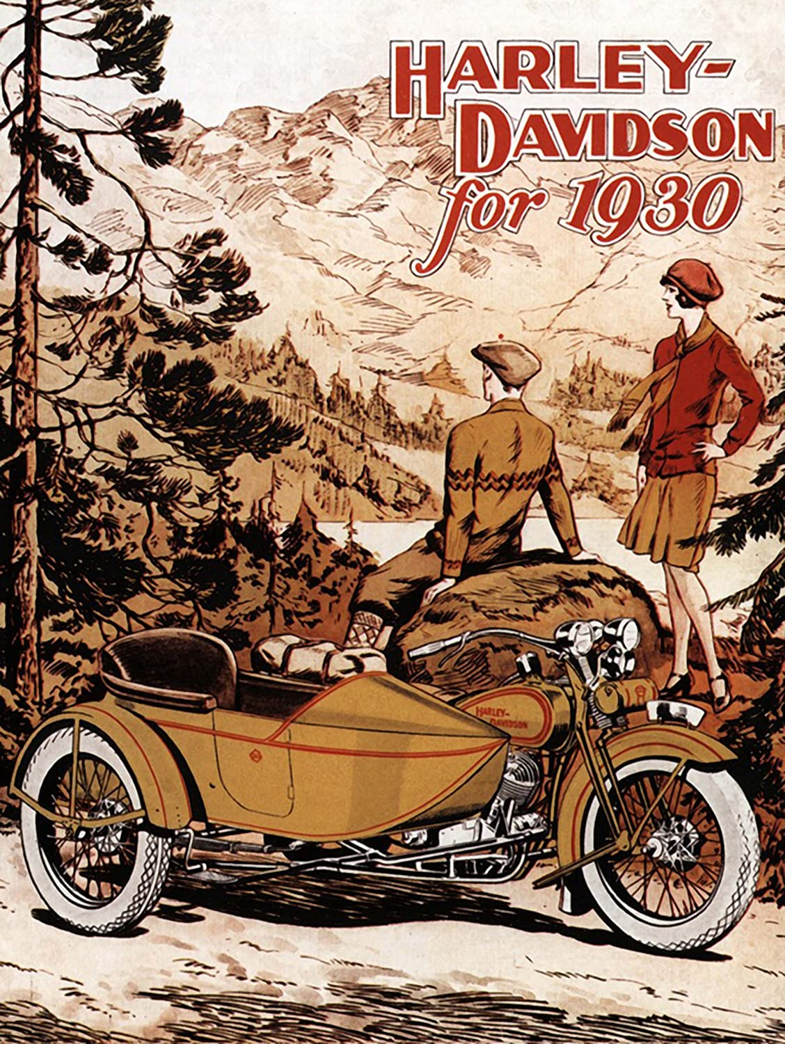 ADVERTISEMENT HARLEY DAVIDSON 1930 MOTORCYCLE BIKE ART PRINT ...
