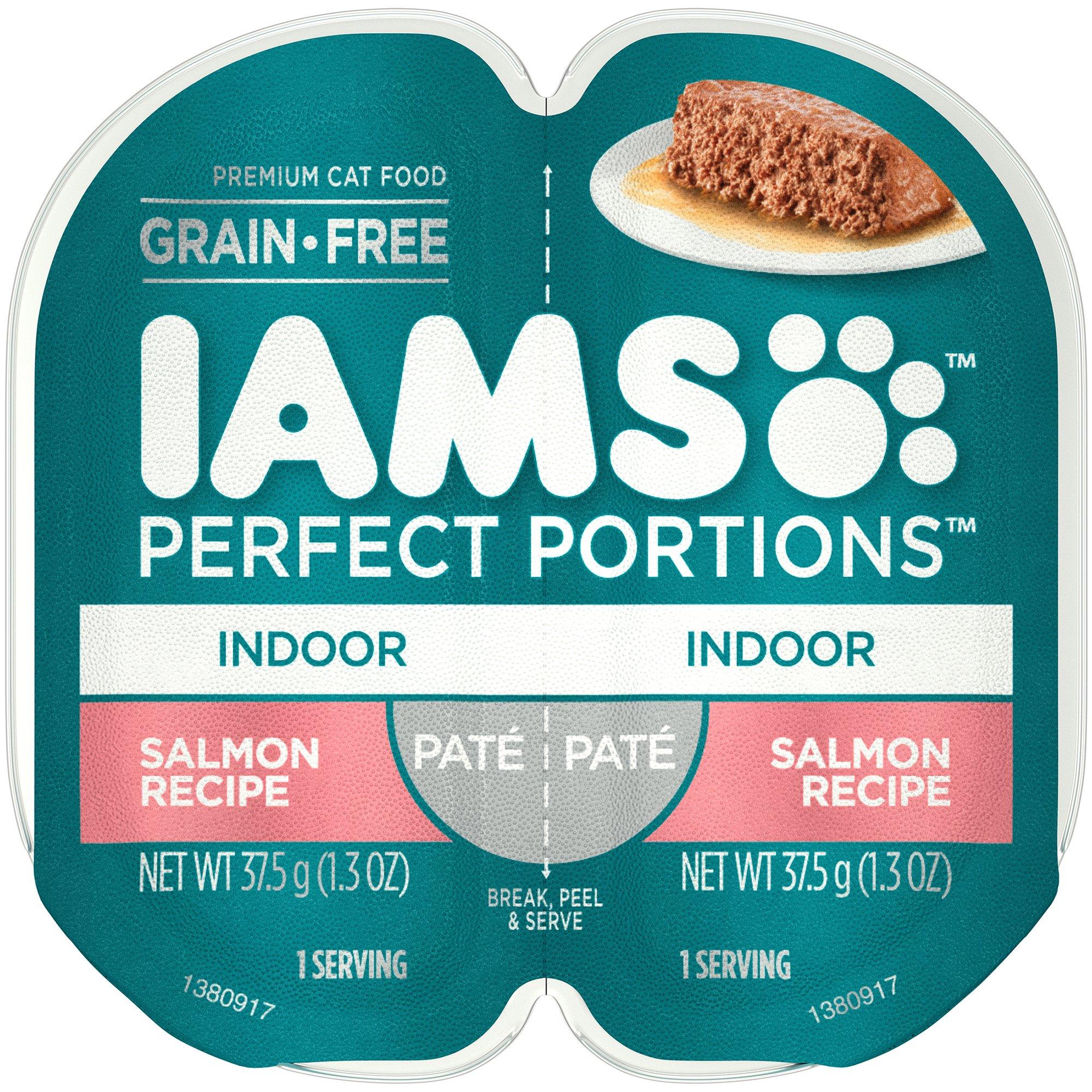 Iams Indoor Grain Free Wet Cat Food, Salmon Pate, 2.6 oz. (24 Twin Packs)