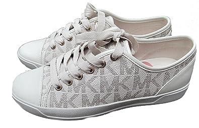 ba9f5d5e3fc44 Michael Kors Womens MK City Sneakers Signature PVC (6, Vanilla)