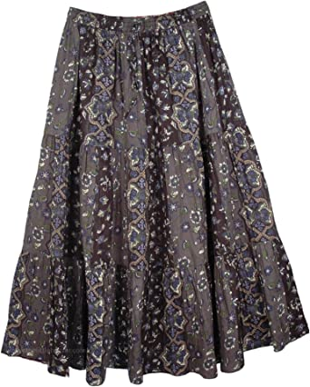 L:35; W:28-36 TLB Blue Paisley Summer Skirt For Women