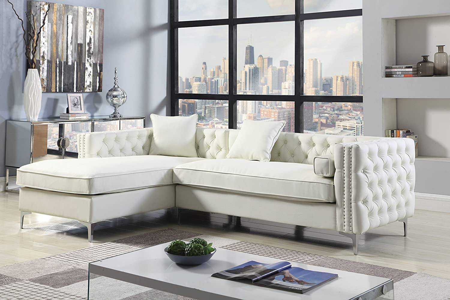 Iconic home bosch left hand facing sectional sofa l shape chaise pu leather button tufted with silver nailhead trim silvertone metal leg with 3 accent