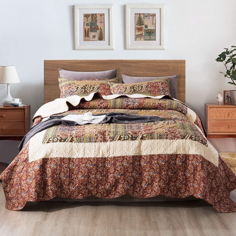 NEWLAKE Quilt Bedspread Sets-Paisley Garden Pattern Reversible Coverlet Set,King Size