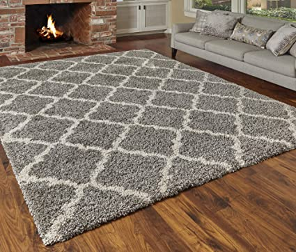 Gray Shag Rug 8x10.Gertmenian True Shags Collection Geometric Gray Shag Rug 8x10 Soft Olefin Yarn 2 Inch Thick In Luxury Charcoal Tile Solid Color Area Rugs