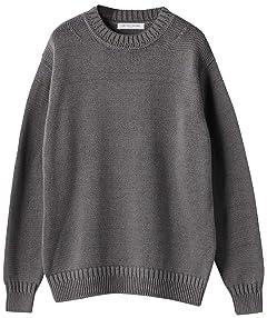 Medium Gauge Cotton Crewneck Sweater 1113-299-4322: Dark Grey
