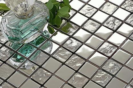 In acciaio inox lucido e texture argento vetro mosaico piastrelle
