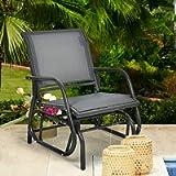 DORTALA Swing Glider Chair, Outdoor Rocking Chair w/Study Metal Frame, Comfortable Single Glider Patio Chair for Garden…