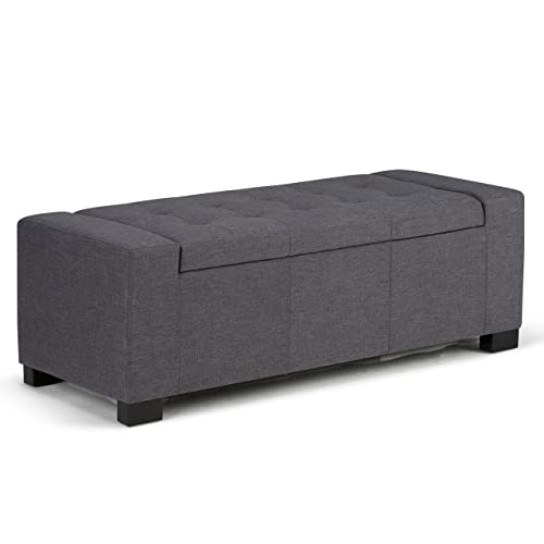 Simpli Home AXCOT-231-GL Laredo 51 inch Wide Contemporary Rectangle Large Storage Ottoman in Slate Grey Linen Look Fabric
