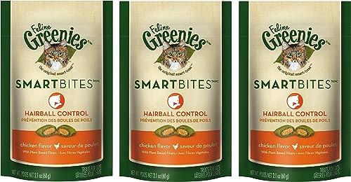Feline Greenies Smartbites Hairball Control Cat Treats – Chicken Flavor – 2.1 Oz. 3 Pack